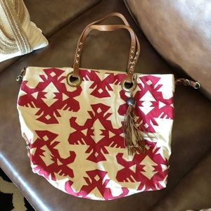 Lucky Brand Red Embroidered Tote